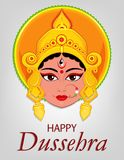Happy Dussehra greeting card. Maa Durga Face for Hindu Festival. Stock Photo