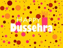 Happy Dussehra. Indian Festival celebration. The inscription on yellow background with circles of different colors. Vector Royalty Free Stock Photos