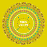 Happy Dussehra.Paisley circle frame in holiday Royalty Free Stock Photography