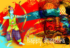 Happy dussehra poster design. Of god krishna shoots an arrow from a bow in a demon on brush stroke abstract background and hand lettering inscription, vector Royalty Free Illustration