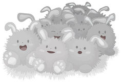 Happy Dust Bunnies. A collection of some dust bunnies on white background. Each bunny is grouped together on one layer. Bottom shading objects on separate layer royalty free illustration