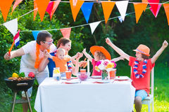 Happy dutch family having grill party Stock Photography