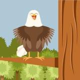Happy Eagle on the Tree flat Background Royalty Free Stock Photos