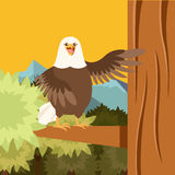 Happy Eagle on the Tree flat Background Royalty Free Stock Photo