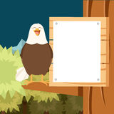 Happy Eagle on the Tree flat Background Royalty Free Stock Image