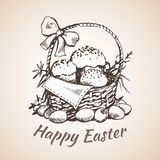 Happy earster isolated hand drawn symbol - flower, eggs, grass. Royalty Free Stock Images