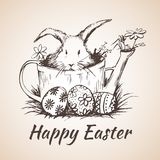 Happy earster isolated hand drawn symbol - flower, eggs, grass. Stock Images