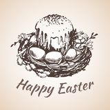 Happy earster isolated hand drawn symbol - flower, eggs, grass. Royalty Free Stock Photos