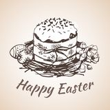 Happy earster isolated hand drawn symbol - flower, eggs, grass. Stock Image