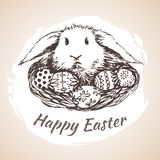 Happy earster isolated hand drawn symbol - flower, eggs, grass. Stock Photos