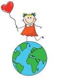 Happy earth. Happy girl holding heart on earth stock illustration