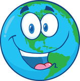 Happy Earth Cartoon Character Stock Photo