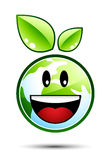 Happy Earth Character. With Green Leaves Royalty Free Stock Image