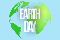 Happy Earth Day. 22 April. Abstract green planet on blue background. Text from paper letters. Map of the planet earth. Ecological. Holiday. Vector illustration Stock Photos