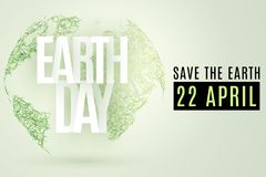 Happy Earth Day. 22 April. Abstract green planet earth from grass on a light background. Save the Earth. Text from paper letters. vector illustration