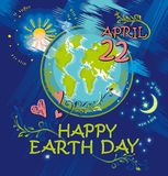 Happy Earth Day. April 22. Earth Day  bright doodle poster illustration Stock Images