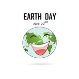 Happy Earth Day April 22 with globe cute character.Earth Day cam. Paign idea concept.Earth Day idea campaign for greeting Card,Poster,Flyer,Cover,Brochure Royalty Free Stock Photography