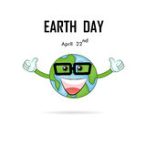 Happy Earth Day April 22 with globe cute character.Earth Day cam. Paign idea concept.Earth Day idea campaign for greeting Card,Poster,Flyer,Cover,Brochure Stock Images