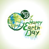 Happy Earth Day. April 22. Happy Earth Day hand lettering template. April 22. Painted planet on and handwritten words. Vector Earth day illustration Stock Image