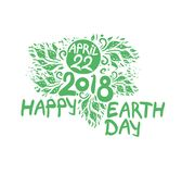 Happy Earth Day. April 22. 2018. Hand draw inscription and green foliage. Vector template isolated on white background Stock Photography