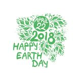 Happy Earth Day. April 22. 2018. Hand draw inscription and green foliage. Vector template isolated on white background Royalty Free Stock Image