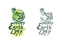 Happy Earth Day. April 22. Happy Earth Day. Two options lettering template. Earth day, 22 April. Painted picturesque Earth globe on a long green stalk and Stock Photos