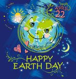 Happy Earth Day. April 22. Happy planet smiles. Earth Day vector cartoon illustration Royalty Free Stock Photos
