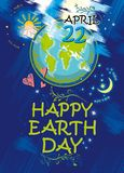 Happy Earth Day. April 22. Planet Earth. Happy Earth Day. April 22. Planet Earth on a blue background vector bright doodle poster illustration Royalty Free Stock Image