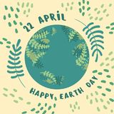 Happy earth day. 22 april. planet Earth. Happy earth day. 22 april. Green world globe with floral elements. Lettering and planet Earth. Vector flat illustration Royalty Free Stock Photo