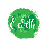 Happy Earth day brush pen handwritten lettering. April 22. Modern vector hand drawn calligraphy with brush texture isolated on white background for your poster Royalty Free Stock Image