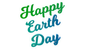 Happy Earth Day Calligraphic 3D Rendered Text Illustration Colored With Light Green And Breeze Colors. On White Background Royalty Free Stock Photo