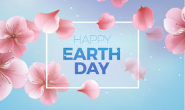 Happy Earth Day card, blue background for banner, poster. Vector illustration with pink petals vector illustration