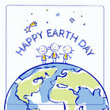 Happy Earth day card. Globe illustration vector concept, with kids. April 22 world environment background, poster. Children holding hands, standing on planet Stock Image
