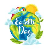 Happy Earth Day card. Illustration for environment safety celebration stock illustration