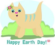 Happy Earth Day Cat Royalty Free Stock Photos