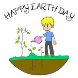 Happy Earth Day with cild and plant. Vector illustration Stock Photography