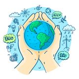 Happy earth day. Concept of ecology. Happy earth day. Human hands holding Earth. Hand drawn vector illustration stock illustration