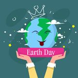 Happy Earth Day Cute Greeting Card With Hand Holding Cartoon Planet Happy Smiling Ecology Protection Holiday Poster Stock Photo