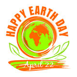 Happy Earth Day design. Happy Earth Day. April 22. Earth Day card with Earth globe and green leaves. Hand drawn grunge style art. Vector illustration Royalty Free Stock Photo