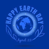 Happy Earth Day design. Happy Earth Day. April 22. Earth Day poster with earth globe symbol, foliage and greeting inscription on a space background. Vector Stock Photo