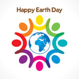 Happy earth day design. Colorful people celebrate happy earth day  design Royalty Free Stock Photos