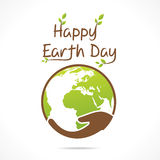 Happy earth day design. Earth hold in hand design vector Stock Images