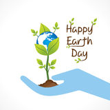 Happy earth day design. Plant hold in hand design vector Royalty Free Stock Photo