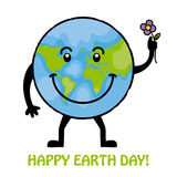 Happy earth day. Globe with flower Royalty Free Stock Image