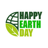 Happy Earth Day with globe icon and leaf Stock Images