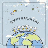 Happy Earth day. Globe illustration vector concept, with kids. April 22 world environment background, poster. Children holding hands, standing together on Stock Images
