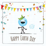 Happy Earth day. Globe illustration vector concept, with planet earth character, smiling. April 22 world environment background, poster Stock Photos