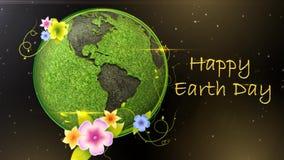 Happy earth day globe in space 4K Loop