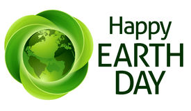 Happy Earth Day Green Leaves Globe Design Royalty Free Stock Photography