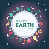 Happy Earth day. Happy Earth day greeting card with planet and space Royalty Free Stock Photos
